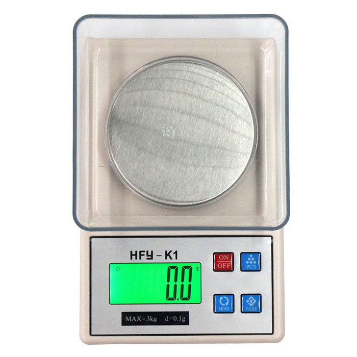 K1 3kg/0.1g  2.2 High-quality Electronic Scale / Gold Jewelry ScaleDigital Scales<br>Form  ColorWhite + silverModelK1Quantity1 DX.PCM.Model.AttributeModel.UnitMaterialStainless steel + ABS plasticTypeKitchen ScaleScreen Size2.2 inchesMax. Weight3kgMin. Weight0.1gUnitg,kg,ct,lb,ozDivision0.1gAuto Power OffNoPowered ByAA BatteryBattery Number2Battery included or notNoPacking List1 * Electronic 1 * Scale1 * Tray1 * Instructions in English and Chinese<br>