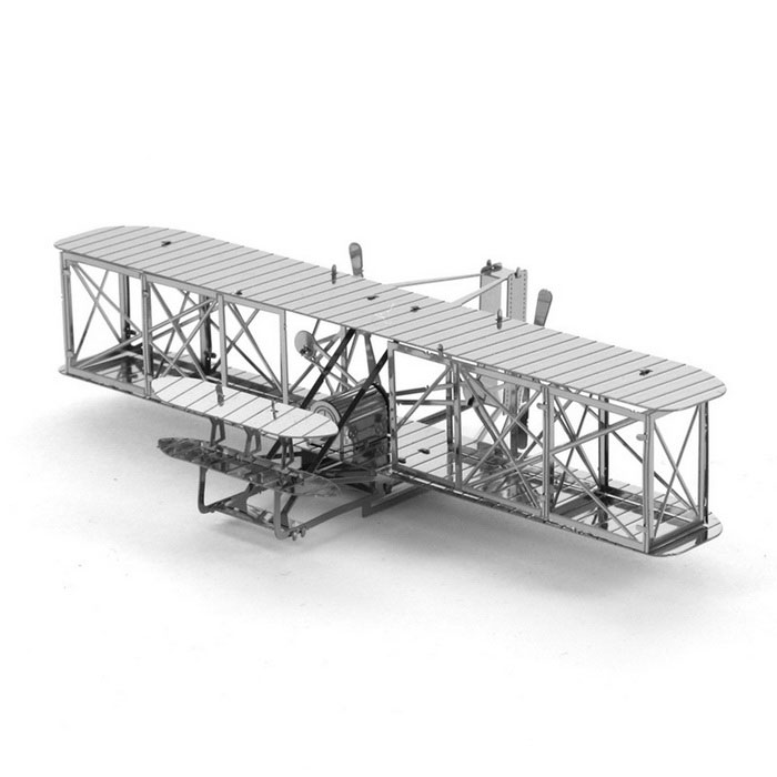 DIY 3D Puzzle Assembled Model Toy Wright Brothers Biplane - Silver