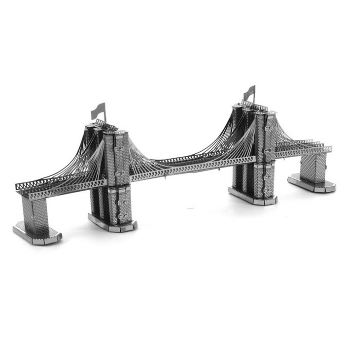 Free Plastic DIY 3D Puzzle Assembled Model Toy Brooklyn Bridge -Silver