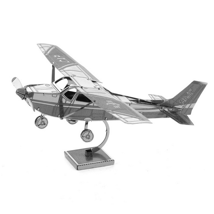 Metal DIY 3D Puzzle Toy Model Assembled Cessna 172 - Silver