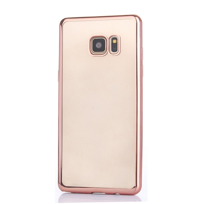 Electroplated Edge TPU Transparent Case for Samsung Note 7 - Rose Gold
