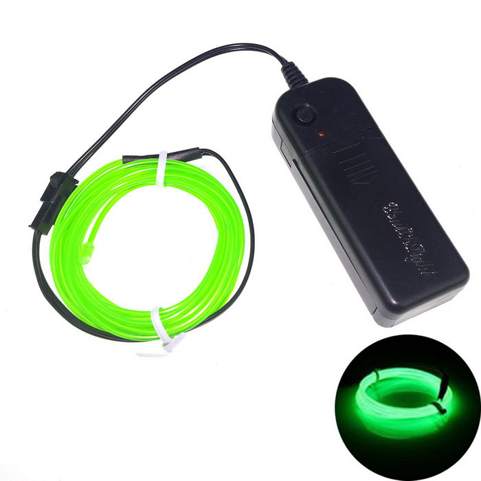 3M Flexible EL Wire Tube Rope Battery Powered Green Light w/ Controller (Batteries not included)
