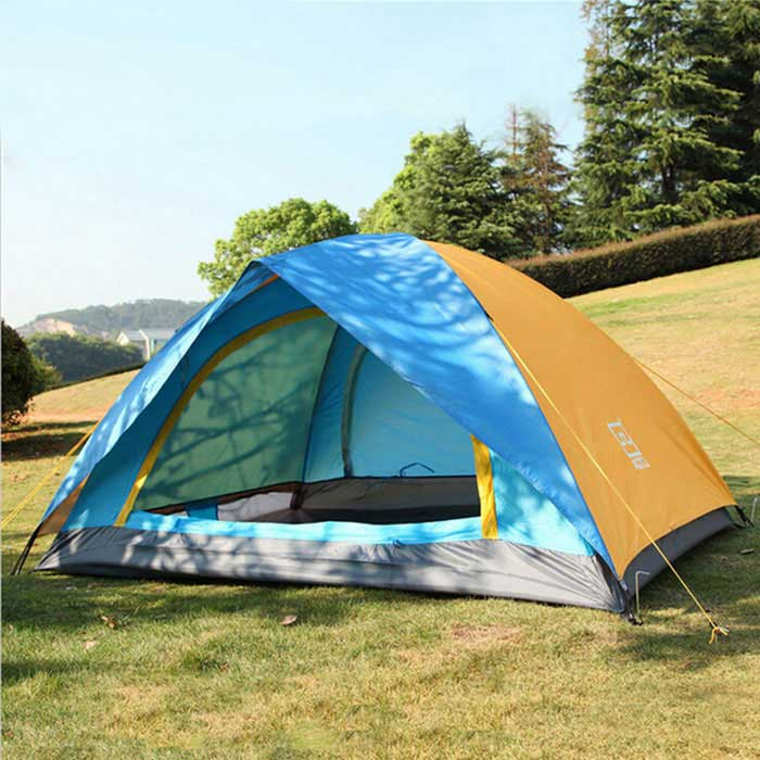 AOTU AT6501 2-Person Outdoor Camping Tent - Blue + Orange