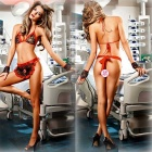 Europe Lace Sexy Bikini Three-Point Perspective Nursing Uniforms Suit