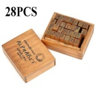 Retro Style Alphabet Number Pattern Wooden Stamp Set - Brown (28PCS)