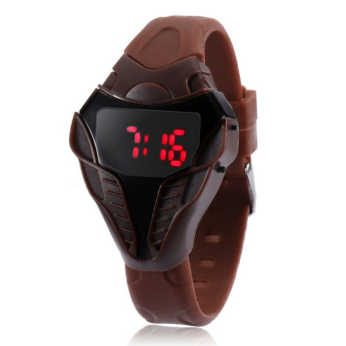 MAIKOU Cobra Head Style Red LED Digital Wrist Watch - Brown