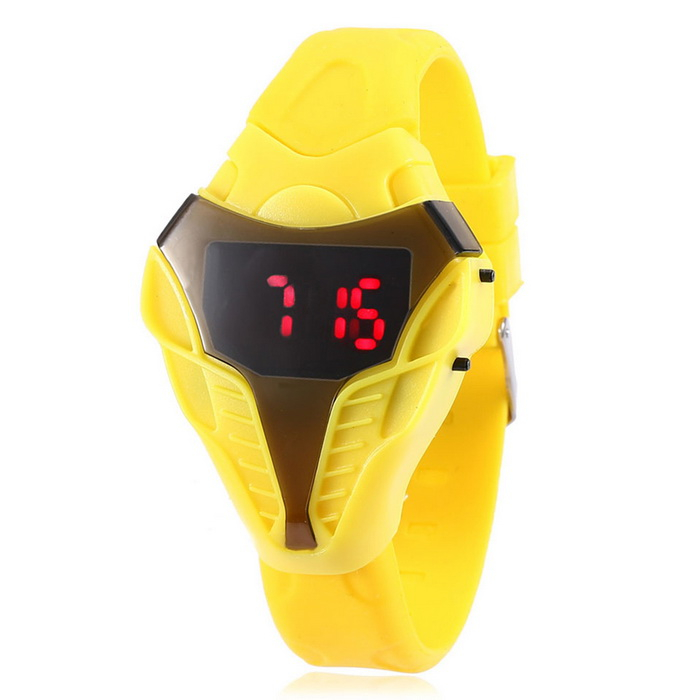 MAIKOU Cobra Head Style Red LED Digital Wrist Watch - Yellow