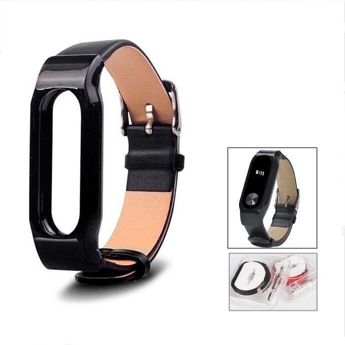 Leather Strap for Xiaomi Miband 2 - Black
