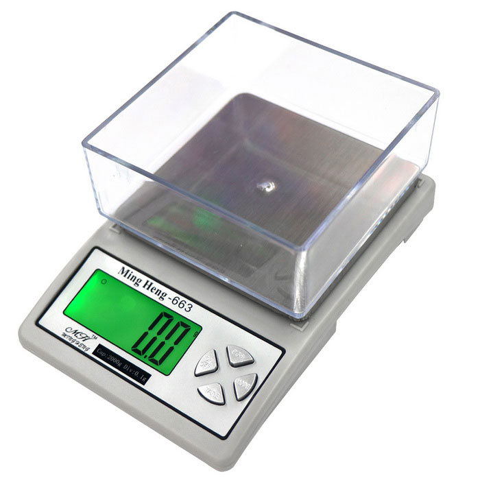 MH-663 2kg/0.1g Precision Kitchen Scale - White + Silver