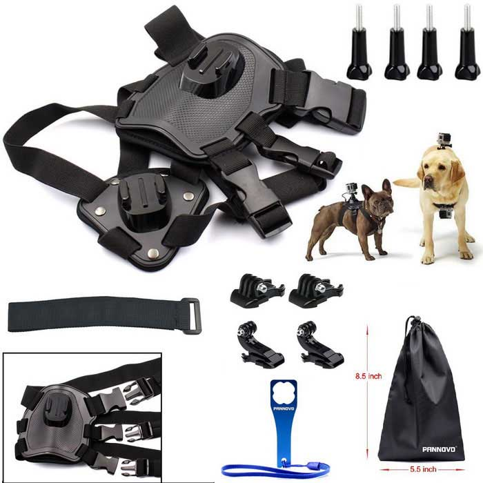 PANNOVO Quick Disassembly Pet Dog Gopro Harness Chest Shoulder Strap