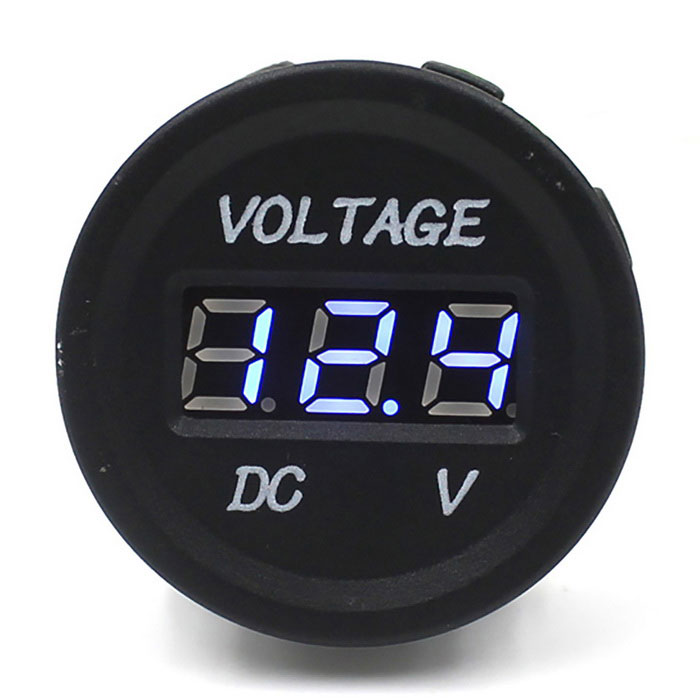 CS-016B2 12~24V DC Blue Light Car / Motorcycle Voltmeter HeadOthers<br>Form ColorBlackModelCS-016B2Quantity1 DX.PCM.Model.AttributeModel.UnitMaterialPlasticTypeOthersWaterproof FunctionYesInstallation Method1. fixing method: first with opening, opening a hole diameter of about 3cm, and then into the hole in the charger, tighten the screws and tighten! 2. Wiring guidelines: back voltmeter indicates that there are + -, corresponding to the lead connected to the original car circuit ACC, (and the key to pulling this position when ACC voltmeter can work)Other Features1. Measuring range: 0~30V;<br>2. Real-time detection of the battery voltage, the battery used under normal operating voltage, extend and protect the battery and engine life;<br>3. Under normal circumstances the motorcycle did not launch, more than 12.5V voltage is normal; but after a motorcycle launched, the normal value of the generator voltage 13.5-14.5V, voltage is too high or too low are defective, it is recommended to service.Packing List1 * Voltmeter2 * Blue straight terminals<br>