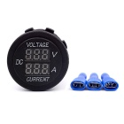 12V Car Motorcycle Waterproof LED Digital Ammeter / Voltmeter - Black