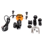 WUPP CS-416A2 USB Charging Motorcycle Phone Holder w/ Switch - Black
