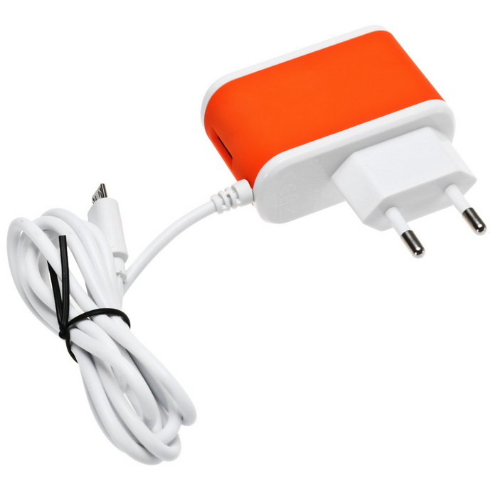 ES-D14 5V 2.4A USB Quick Charge Charger w/ Micro USB Connector -Orange