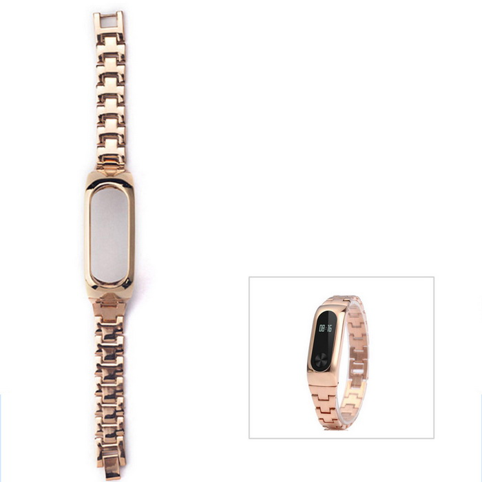 Stainless Steel Watch Strap for Xiaomi Miband 2 - Golden