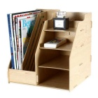 9842 DIY Desktop Multi-function Wood Magazine Rack - Brown