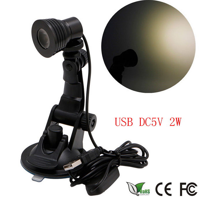 Mini Flexible USB LED 2W Suction Cup Light Computer Lamp - Black