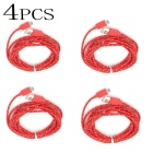 Micro USB Nylon Braided Android Charging Data Cable - Red (4PCS)