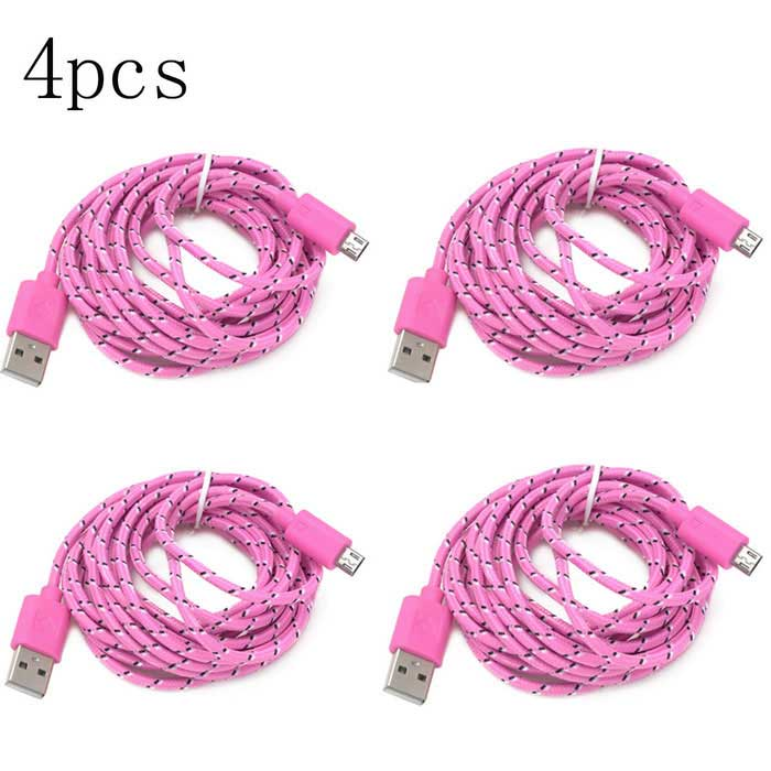 Micro USB Nylon Braided Fabric Android Charger Data Cable - Pink(4PCS)