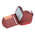 JIN BAO LAI Head Layer Cowhide Leather Folded Wallet - Red