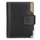 JIN BAO LAI Men's Classic Foldable Leather + PU Wallet - Black
