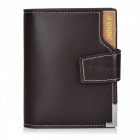 JIN BAO LAI Men's Classic 3-Fold Leather + PU Wallet - Coffee