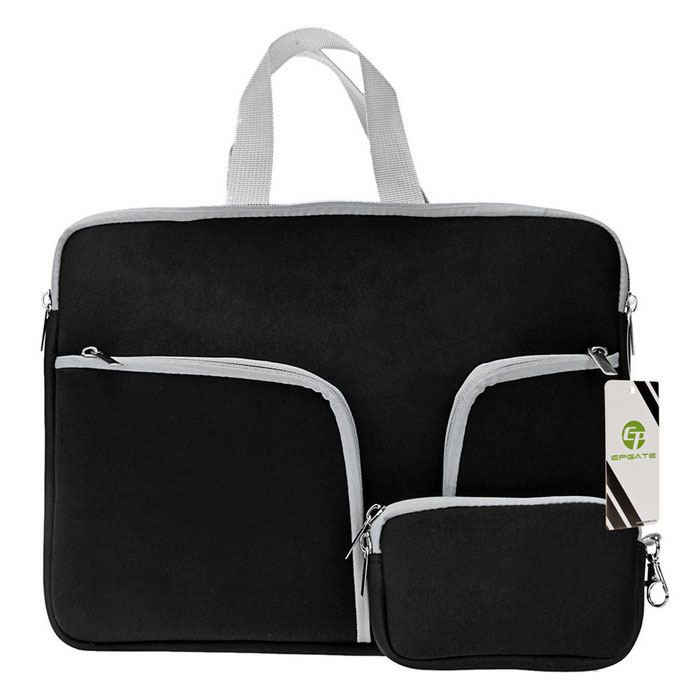 "EPGATE 15"" Neoprene 3-Pockets Portable Laptop Bag + Power Bag - Black"