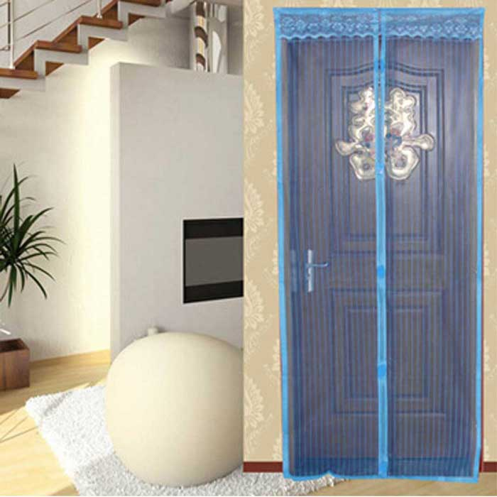 Home Furnishing Anti-Mosquito Magnetic Door Curtain - Blue + Black