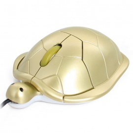 USB 2.0 Creative Cartoon Turtle Optical Wired Computer Mouse - Golden