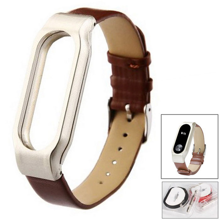 Leather Strap for Xiaomi Miband 2 - BrownWearable Device Accessories<br>Form  ColorBrown (Leather)Quantity1 DX.PCM.Model.AttributeModel.UnitMaterial304 stainless steelPacking List1 *  Leather strap1 * Screwdriver4 * Screws<br>
