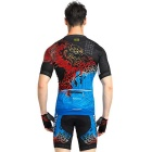 NUCKILY Summer Men's Short Sleeve Shorts Cycling Jersey - Blue (XXXL)