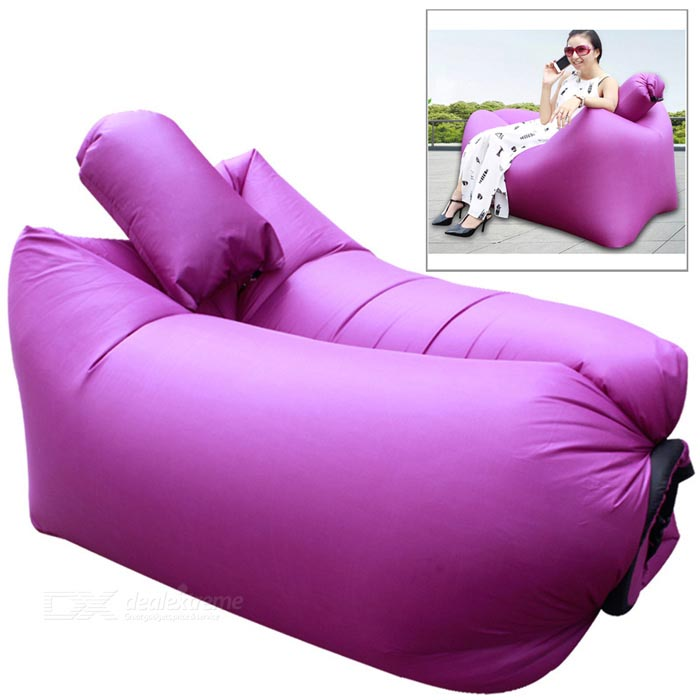 CTSmart Inflatable Sleeping Bag / Deck Chair w/ Pillow - Purple