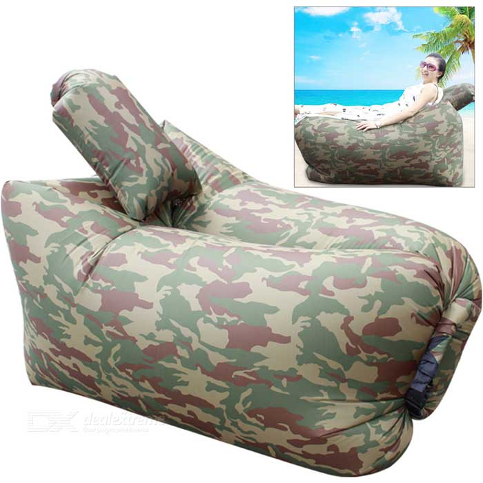 CTSmart Inflatable Sleeping Bag / Deck Chair w/ Pillow - Camouflage