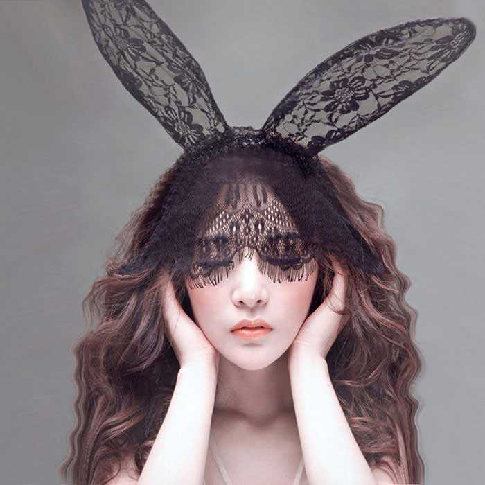 Sexy Lingerie Bunny Ears Lace Veil - Black