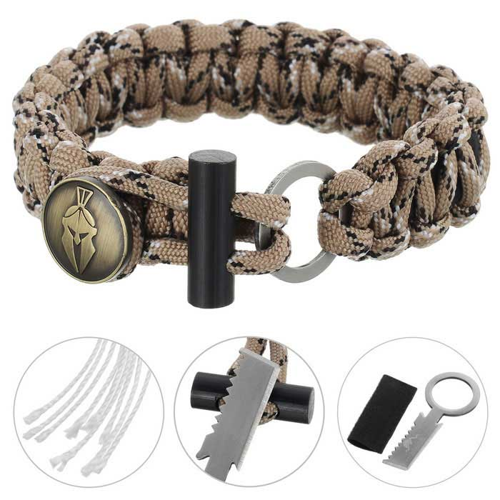 FURA Survival Emerency Bracelet w/ Fire Starter - Multicam AridFirst Aid<br>Form  ColorDesert CamouflageQuantity1 DX.PCM.Model.AttributeModel.UnitMaterialParachute cord + stainless steel + magnesium rodBest UseFamily &amp; car camping,Mountaineering,Travel,CyclingKnife Blade TypeFlat &amp; Tooth edgeBlade Length2.5 DX.PCM.Model.AttributeModel.UnitHandle Length2.3 DX.PCM.Model.AttributeModel.UnitTypeKnives,Multitools,Paracords,Others,Fire StarterPacking List1 * Paracord bracelet<br>