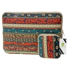 "EPGATE 11.6"" Folk Style Laptop Sleeve Bag + Power Bag - Brown + Green"