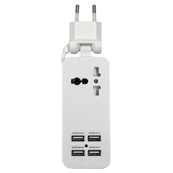 4-USB Multifunction Charging Socket/Universal Adapter - White