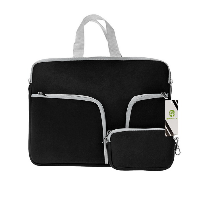 "EPGATE 11"" Neoprene 3-Pockets Portable Laptop Bag + Power Bag - Black"