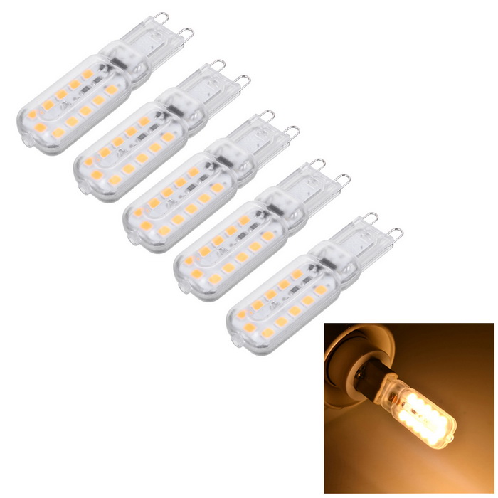 Marsing G9 5W 400lm Warm White Light 22-2835 SMD LED Bulb (5PCS)G9<br>Color BINWarm WhiteMaterialPCForm  ColorWhite + Yellow + Multi-ColoredQuantity1 DX.PCM.Model.AttributeModel.UnitPower5WRated VoltageAC 220-240 DX.PCM.Model.AttributeModel.UnitConnector TypeG9Chip BrandHugaEmitter TypeOthers,2835 SMDTotal Emitters22Actual Lumens300-400 DX.PCM.Model.AttributeModel.UnitColor Temperature3000KDimmableNoBeam Angle360 DX.PCM.Model.AttributeModel.UnitCertificationCE, RoHsPacking List5 * LED Bulbs<br>