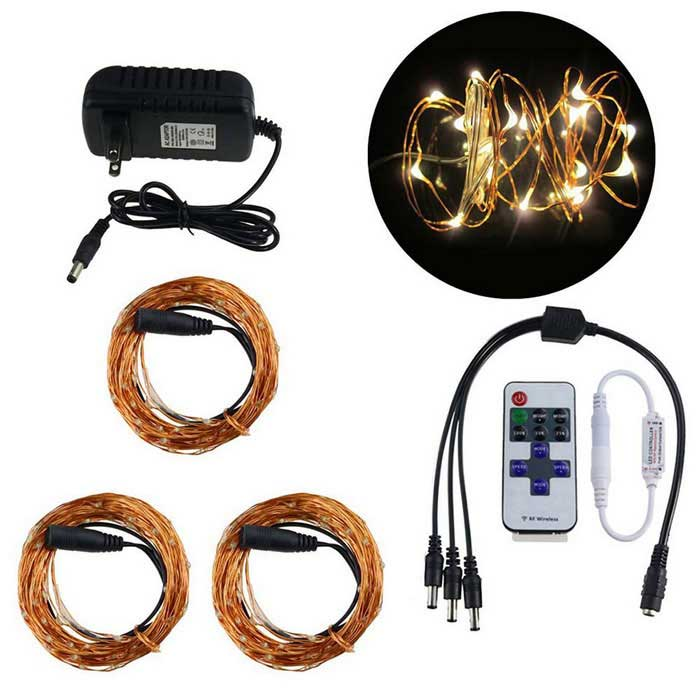 KWB 16W 30M 300-LED String Light w/ IR Controller, 12V 3A Power Supply