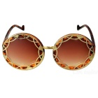 Women's Hollow-out Retro Reflective Sunglasses - Yellow + Tawny