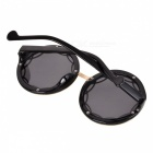 Women's Hollow-out Retro Reflective Sunglasses - Black + Silver + Grey