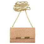 Glitter Wallet Style Long Chain Messenger Backpack - Rose Gold