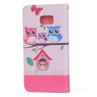 Colored Drawing PU Case for Samsung Note7 - White + Pink + Multicolor