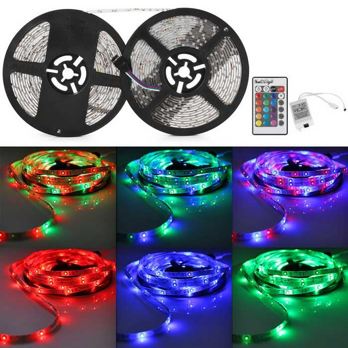 YouOKLight® 33FT/10M RGB 600-3528SMD LED Waterproof IP65 Light Strip3528 SMD Strips<br>Form  ColorBlack + WhiteColor BINRGBModelYK0421MaterialPVCQuantity1 DX.PCM.Model.AttributeModel.UnitPowerOthers,50WRated VoltageDC 12 DX.PCM.Model.AttributeModel.UnitEmitter Type3528 SMD LEDTotal Emitters600Wavelength700-635nm (Red); 560-490nm (Green); 490-450nm (Blue)Actual Lumens4000 DX.PCM.Model.AttributeModel.UnitPower AdapterOthers,WiringPacking List1 * 10M LED RGB Light Strips1 * 24K Remote Control (Including batteries)1 * IR Control Box<br>