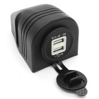 CS-284A1 12-24V Car Modified Waterproof Dual USB Car Charger - Black