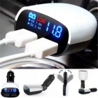 Multifunctional Dual USB 3.4A Smart Car Charger w/ LCD - White + Black