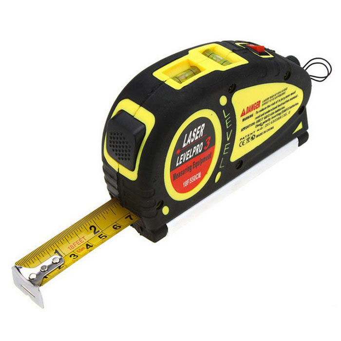 18 feet 5.5m Tape Measure Tool Pro3 Laser Level - Black + YellowLaser Rangefinder, Electronic Distance Meter<br>Form  ColorBlack + YellowModelN/AQuantity1 DX.PCM.Model.AttributeModel.UnitMaterialABSDetection Range18 feet / 5.5 metersMeasuring Accuracy1.0mm-2.0mmPowered ByOthers,3 * AG13 BatteriesBattery included or notNoPacking List1 * Level Pro3 Laser<br>