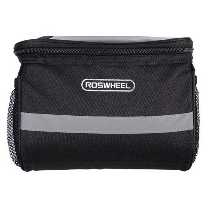 ROSWHEEL 11002 Outdoor Bicycle Handlebar Bag - Black (4L)Bike Bags<br>Form  ColorBlackModel11002Quantity1 DX.PCM.Model.AttributeModel.UnitMaterialTear Resistant Polyester+PVCTypeHandlebar BagsCapacity4 DX.PCM.Model.AttributeModel.UnitWaterproofNoGenderUnisexBest UseCycling,Mountain Cycling,Recreational Cycling,Road Cycling,Bike commuting &amp; touringPacking List1 * Handlebar Bag<br>
