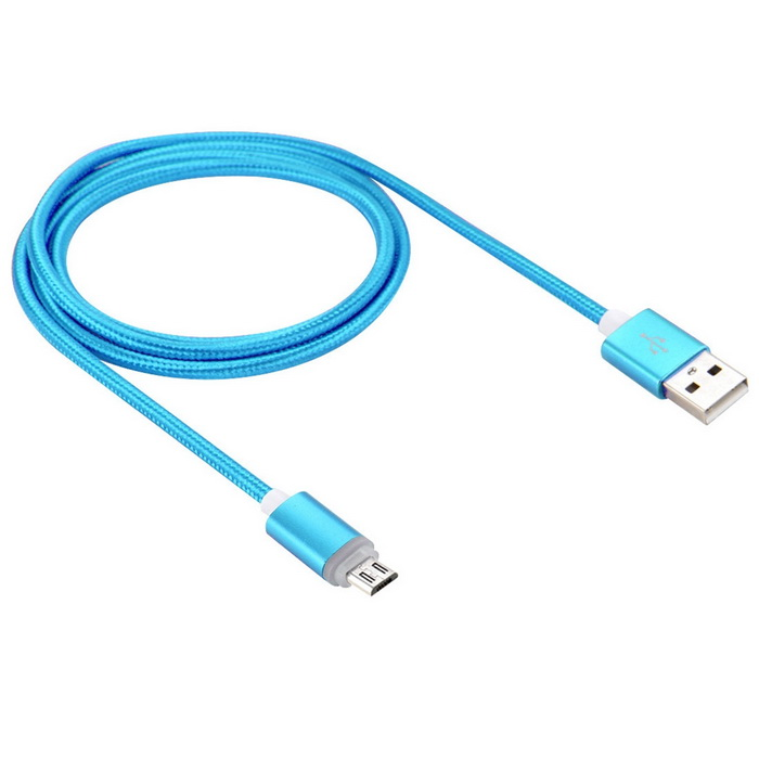 Universal Luminous Nylon Data Cable for Android Phones - Blue (1m)